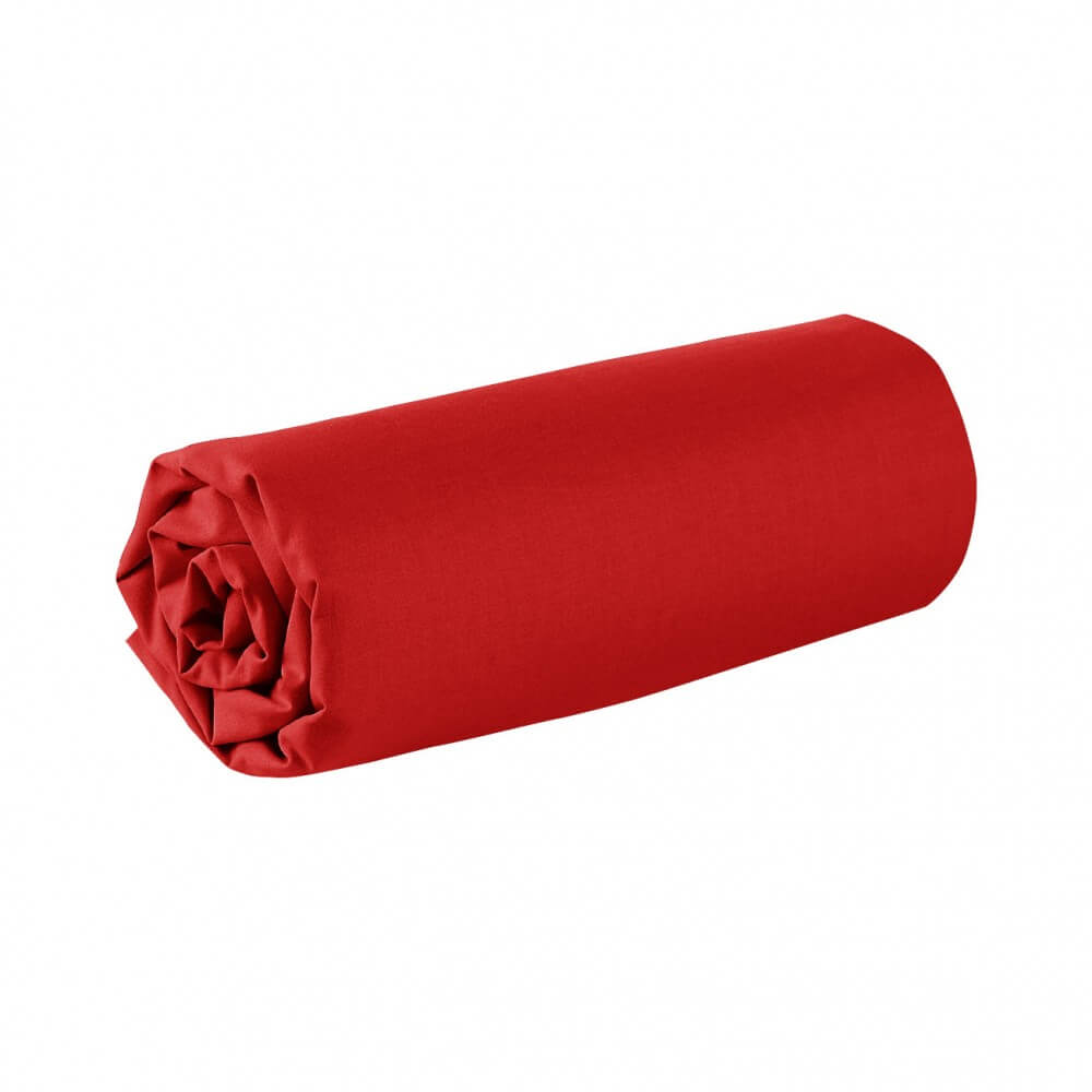 Drap housse - 150 x 190 cm - 100% coton - 57 fils - France : Couleur:Bordeaux
