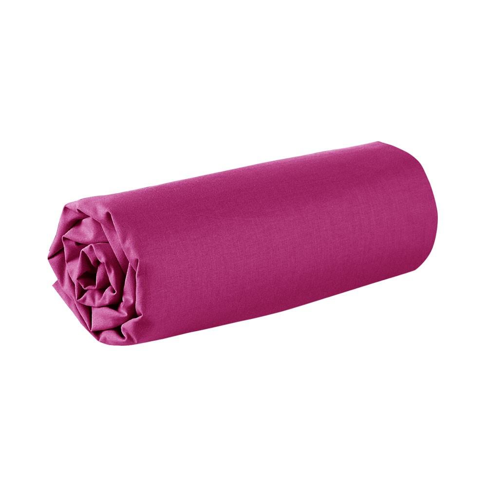 Drap housse - 140 x 190 cm - 100% coton - Différents coloris : Couleur:Jus de myrtille
