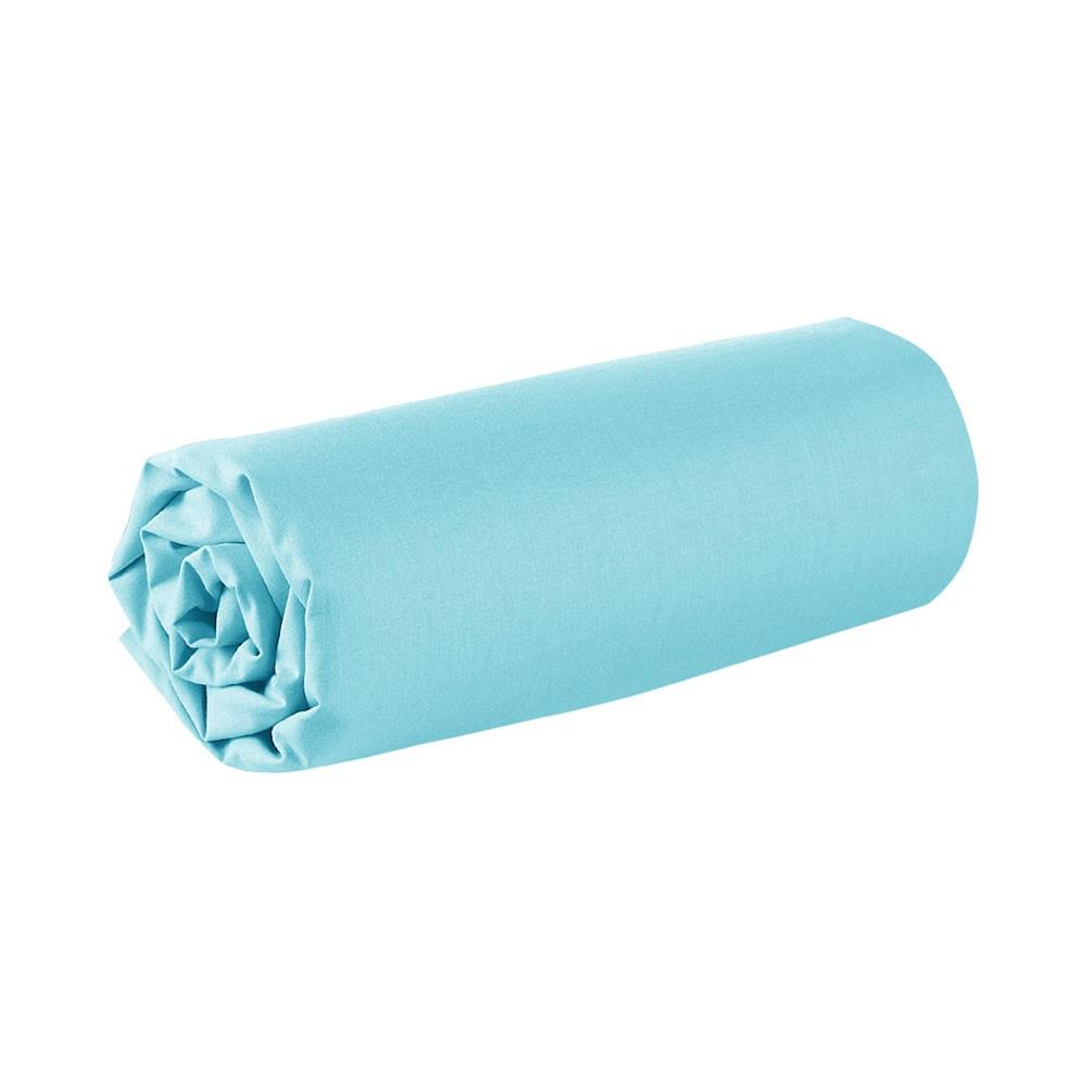 Drap housse - 140 x 190 cm - 100% coton - Différents coloris : Couleur:Portofino