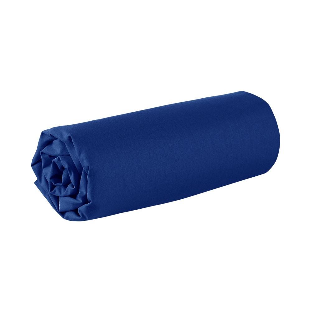 Drap housse - 160 x 200 cm - 100% coton - Différents coloris : Couleur:Ciel d'orage