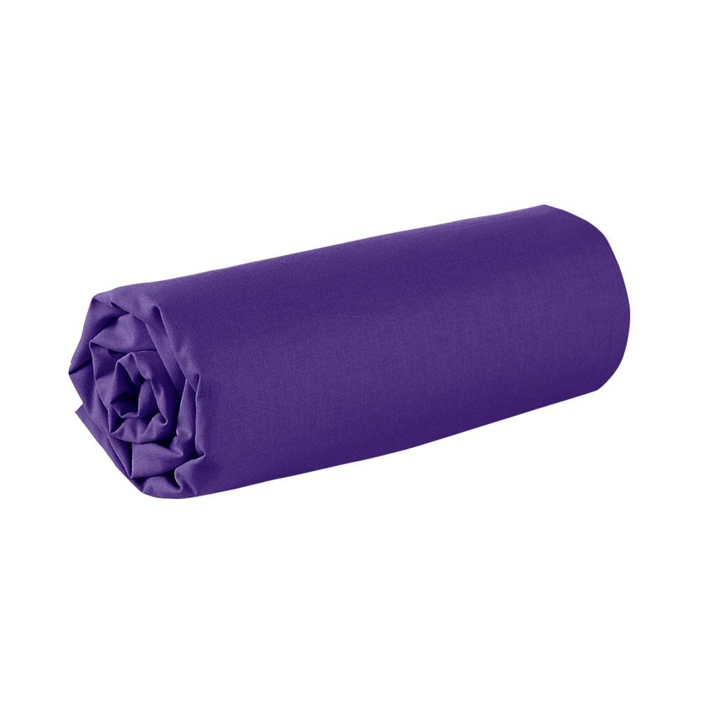 Drap housse - 160 x 200 cm - 100% coton - Différents coloris : Couleur:Deep purple
