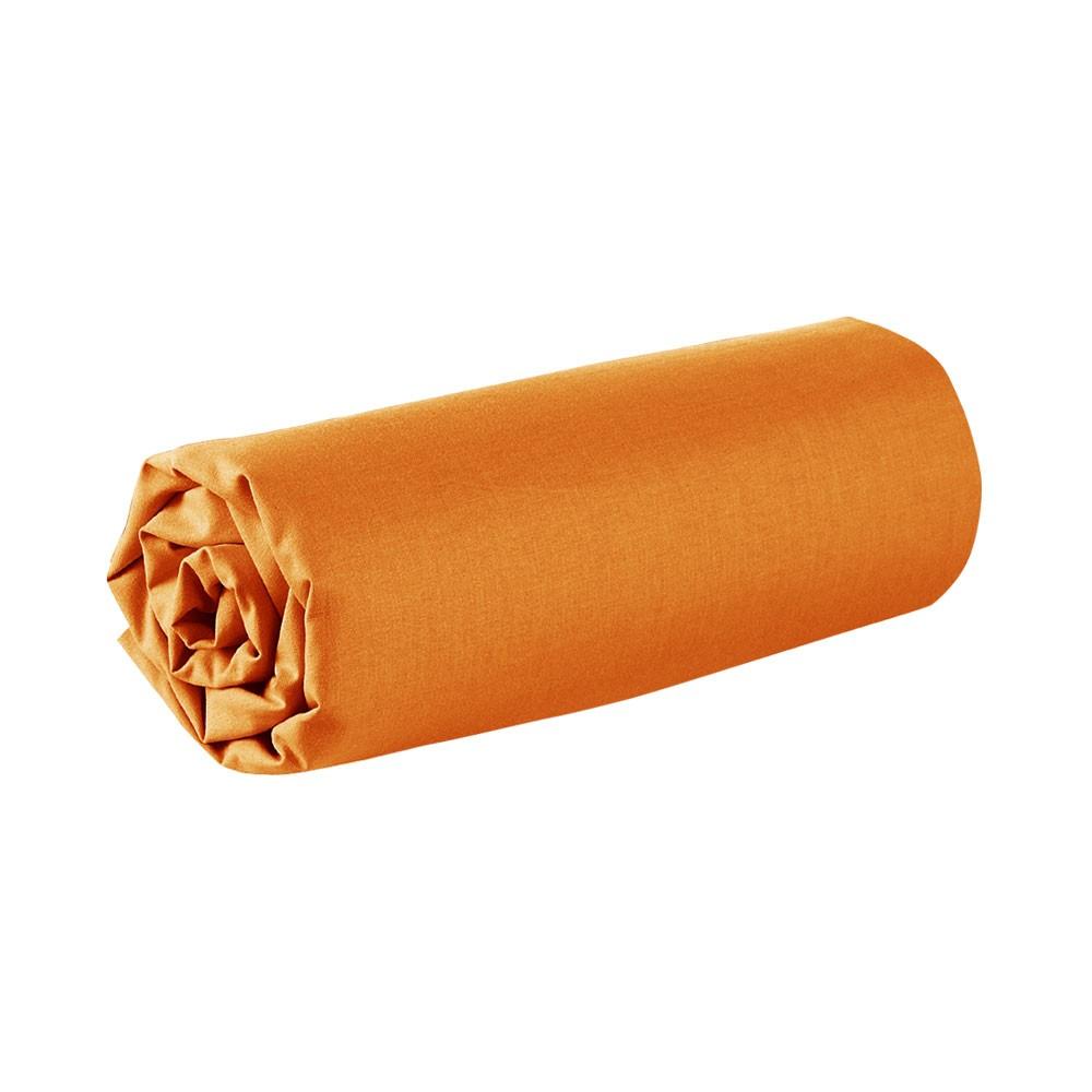Drap housse - 160 x 200 cm - 100% coton - Différents coloris : Couleur:Mandarine