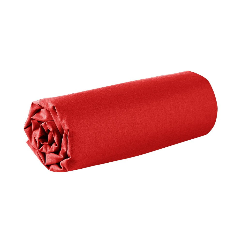 Drap housse - 160 x 200 cm - 100% coton - Différents coloris : Couleur:Pomme d'amour