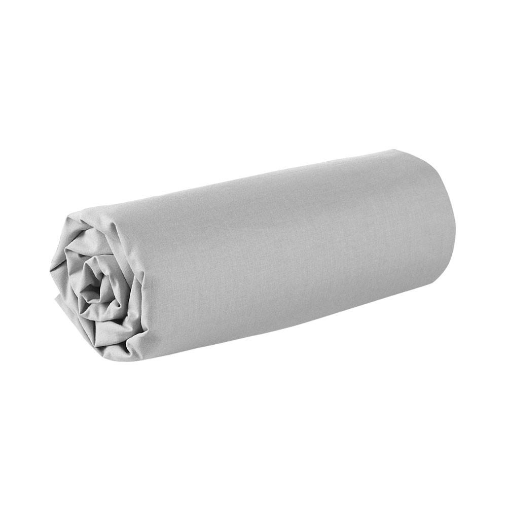 Drap housse - 160 x 200 cm - 100% coton - Différents coloris : Couleur:Zinc