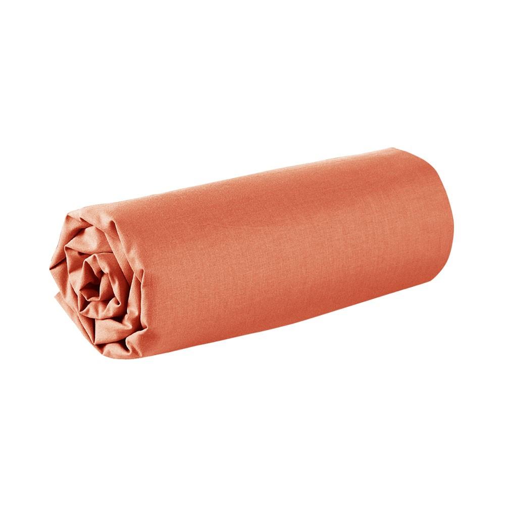 Drap housse - 90 x 190 cm - 100% coton - Différents coloris : Couleur:Corail