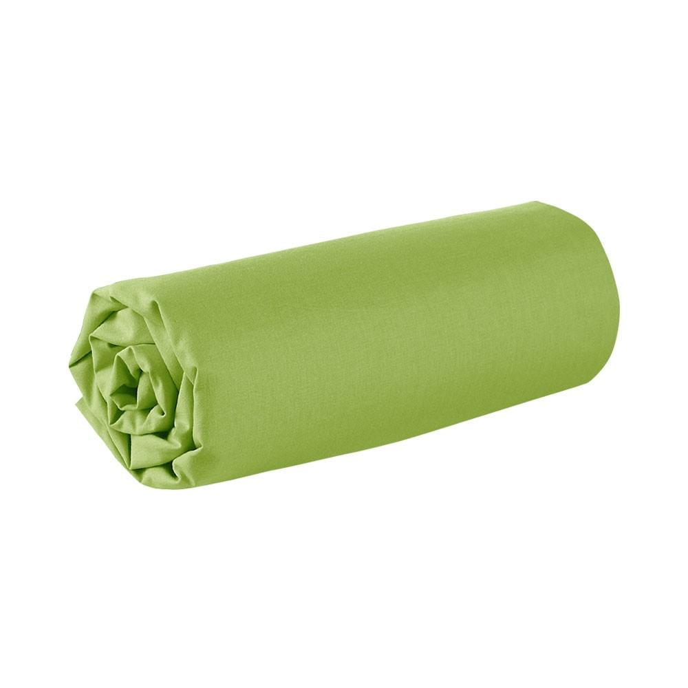 Drap housse - 90 x 190 cm - 100% coton - Différents coloris : Couleur:Fougère