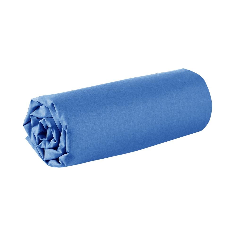 Drap housse - 90 x 190 cm - 100% coton - Différents coloris : Couleur:Indigo