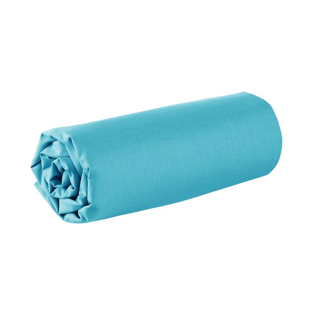 Drap housse - 90 x 190 cm - 100% coton - Différents coloris : Couleur:Mer du sud