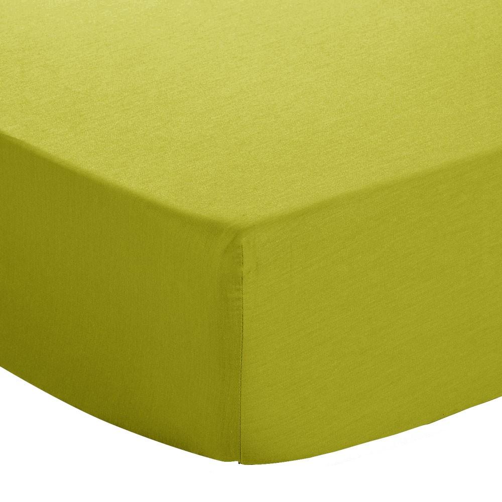 Drap housse - 140 x 190 cm - Atmo - Uni : Couleur:Anis