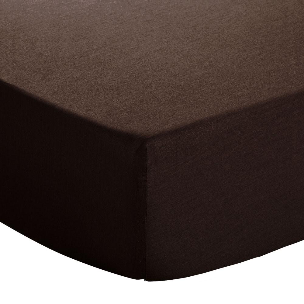 Drap housse - 140 x 190 cm - Atmo - Uni : Couleur:Chocolat