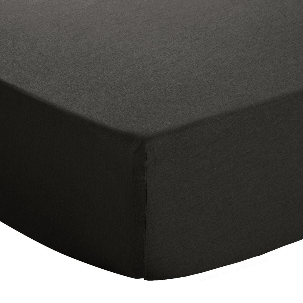 Drap housse - 140 x 190 cm - Atmo - Uni : Couleur:Noir