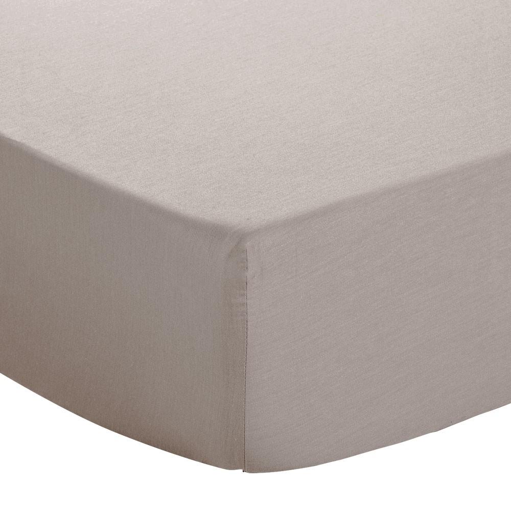 Drap housse - 140 x 190 cm - Atmo - Uni : Couleur:Taupe