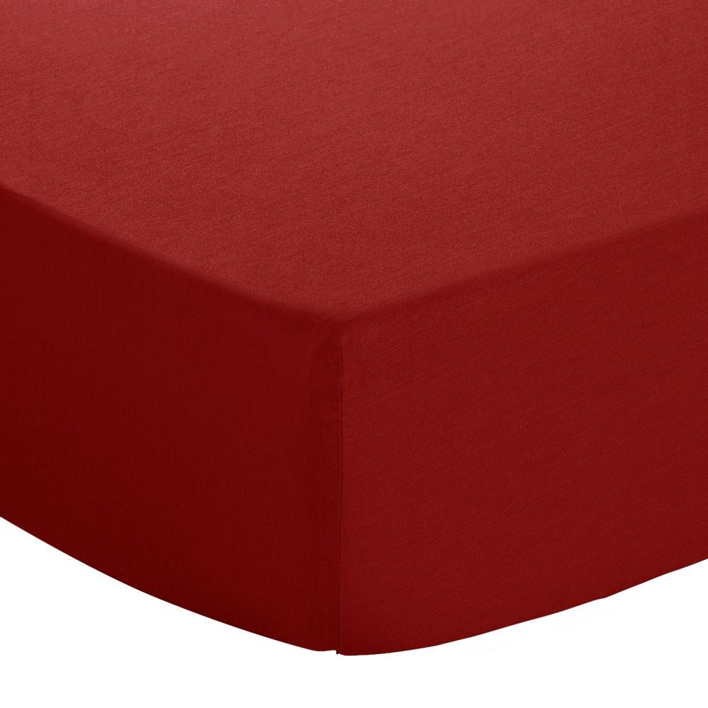 Drap housse - 80 x 190 cm - 100% coton - 57 fils - Kosy : Couleur:Bordeaux