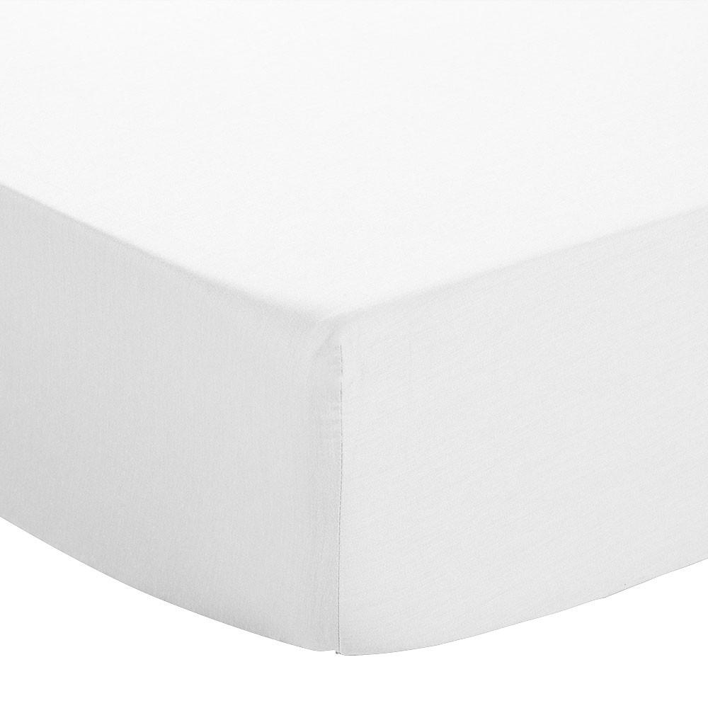 Drap housse - 90 x 190 cm - Jersey : Couleur:Blanc