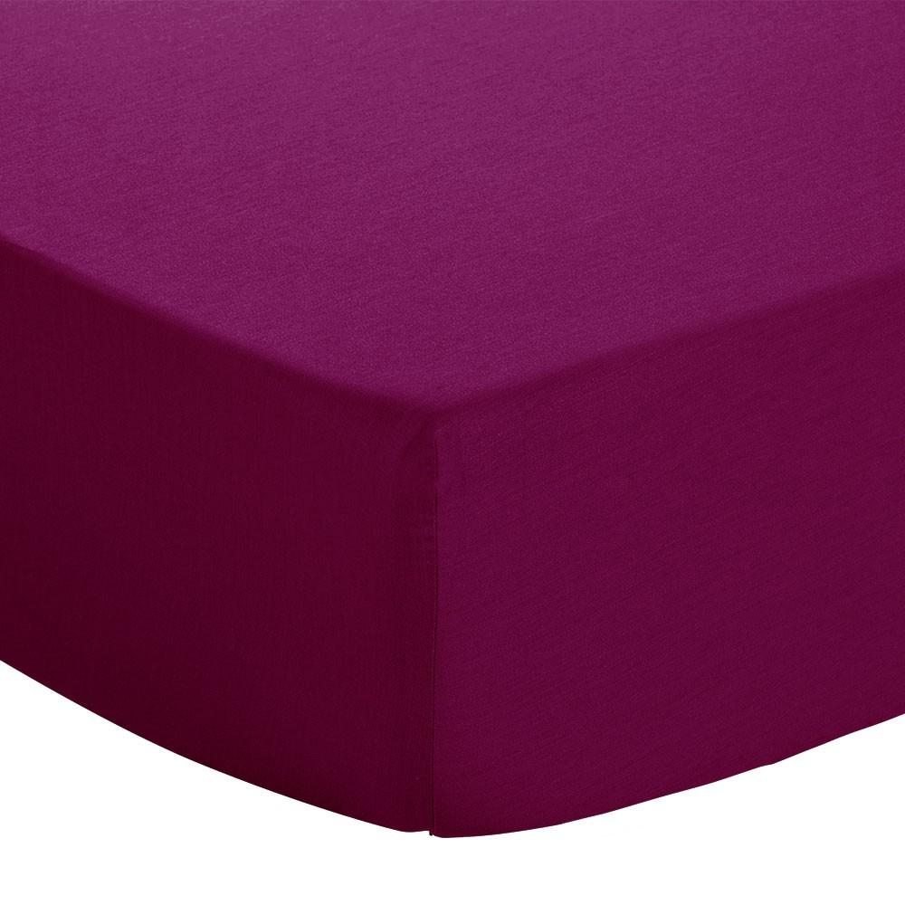 Drap housse - 90 x 190 cm - Jersey : Couleur:Cassis