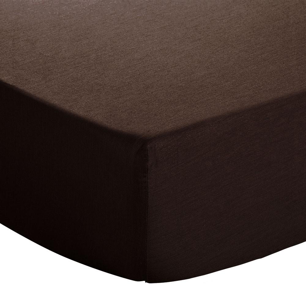 Drap housse - 90 x 190 cm - Jersey : Couleur:Chocolat