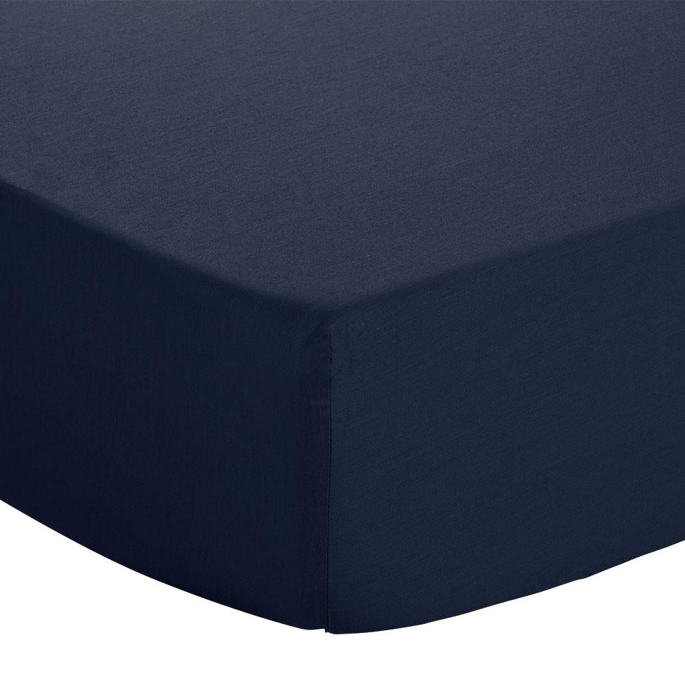 Drap housse - 90 x 190 cm - Jersey : Couleur:Marine