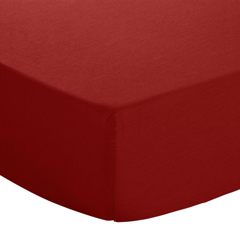 Drap housse - 90 x 190 cm - Jersey : Couleur:Rouge