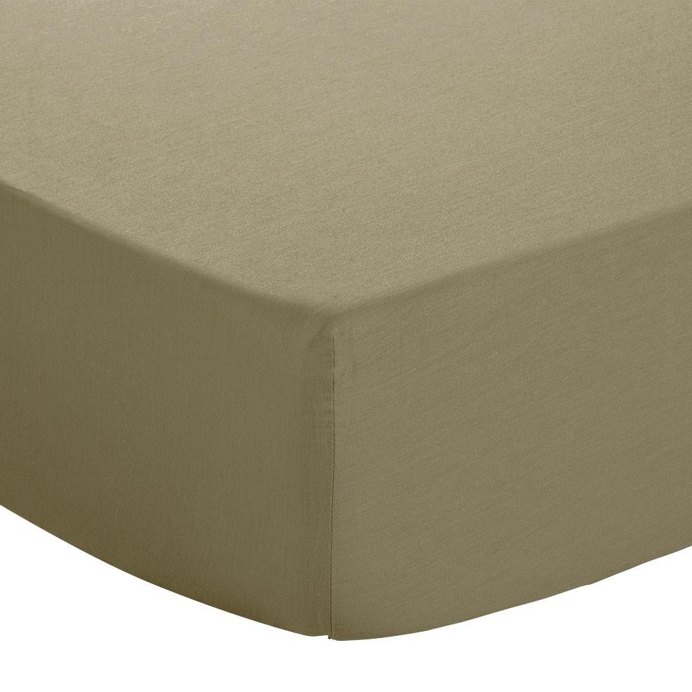 Drap housse - 90 x 190 cm - Jersey : Couleur:Taupe