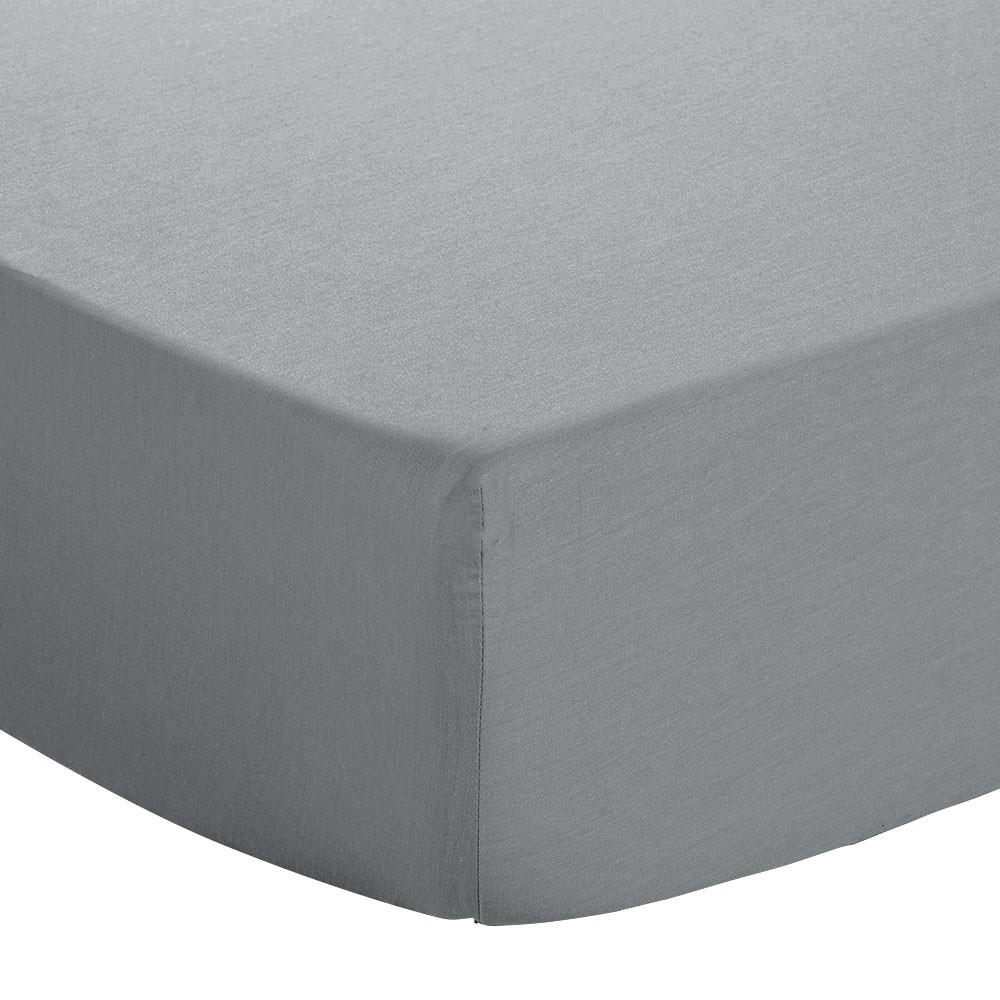 Drap housse - 140 x 190 cm - Jersey : Couleur:Gris