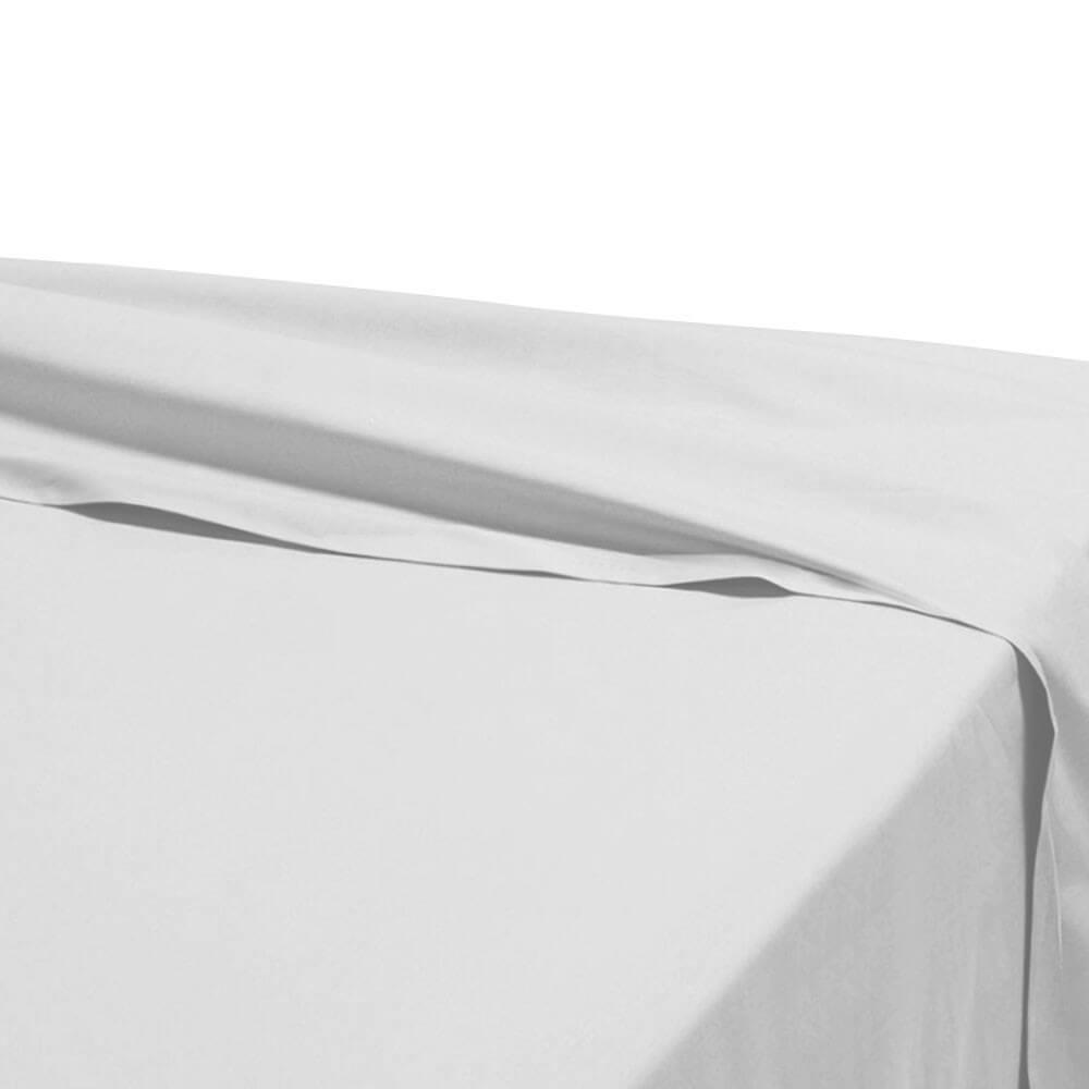 Drap plat - 270 x 325 cm - 100% coton - 57 fils - France : Couleur:Blanc