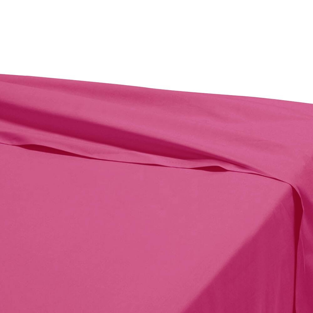 Drap plat - 270 x 325 cm - 100% coton - 57 fils - France : Couleur:Fuchsia