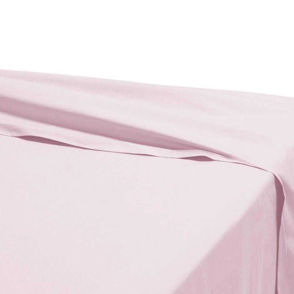 Drap plat - 270 x 325 cm - 100% coton - 57 fils - France : Couleur:Rose