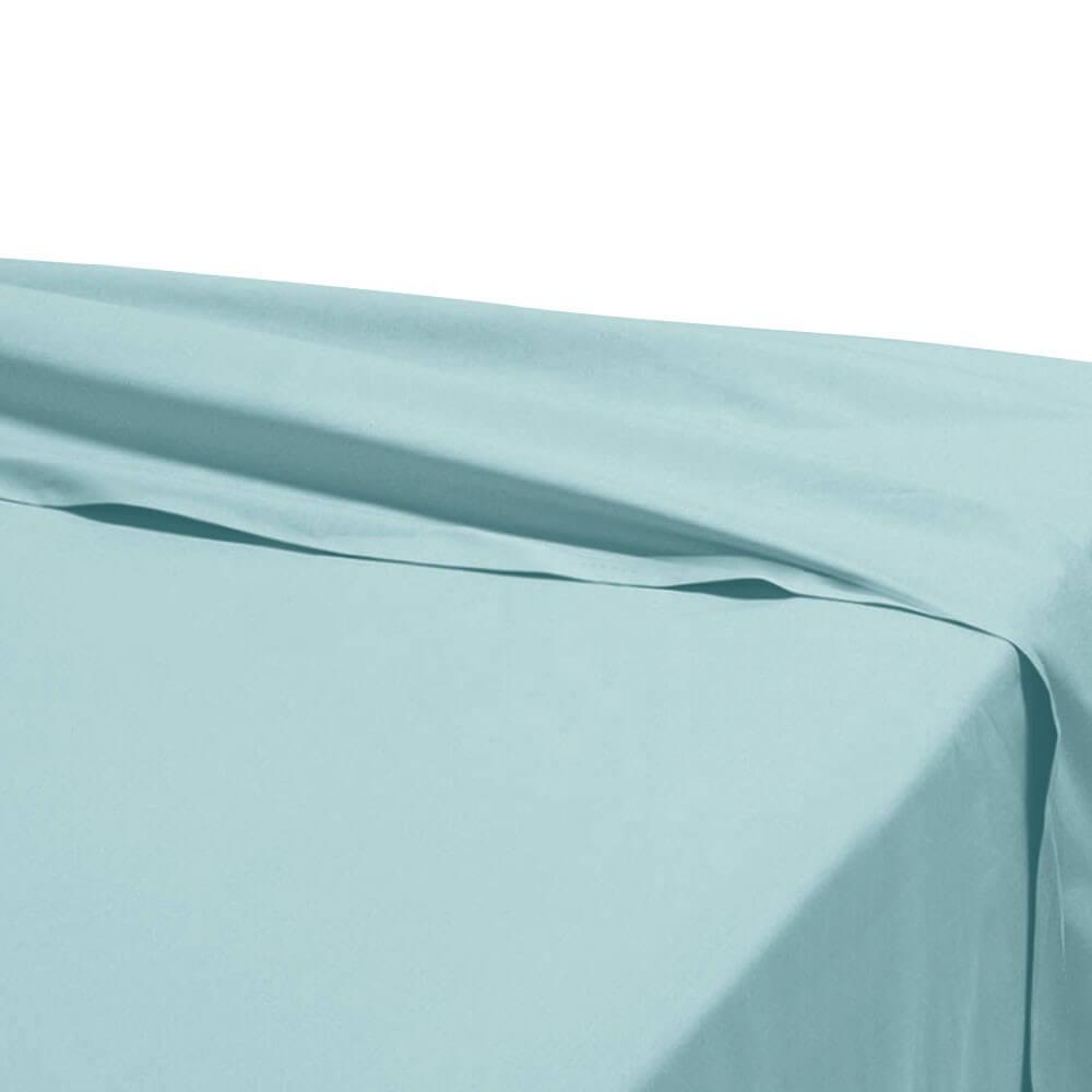Drap plat - 270 x 325 cm - 100% coton - 57 fils - France : Couleur:Turquoise