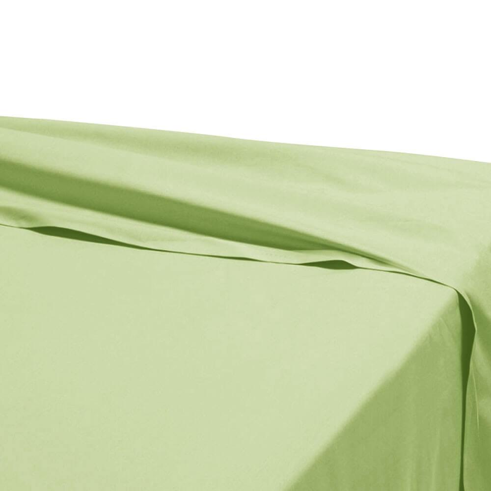 Drap plat - 270 x 325 cm - 100% coton - 57 fils - France : Couleur:Vert