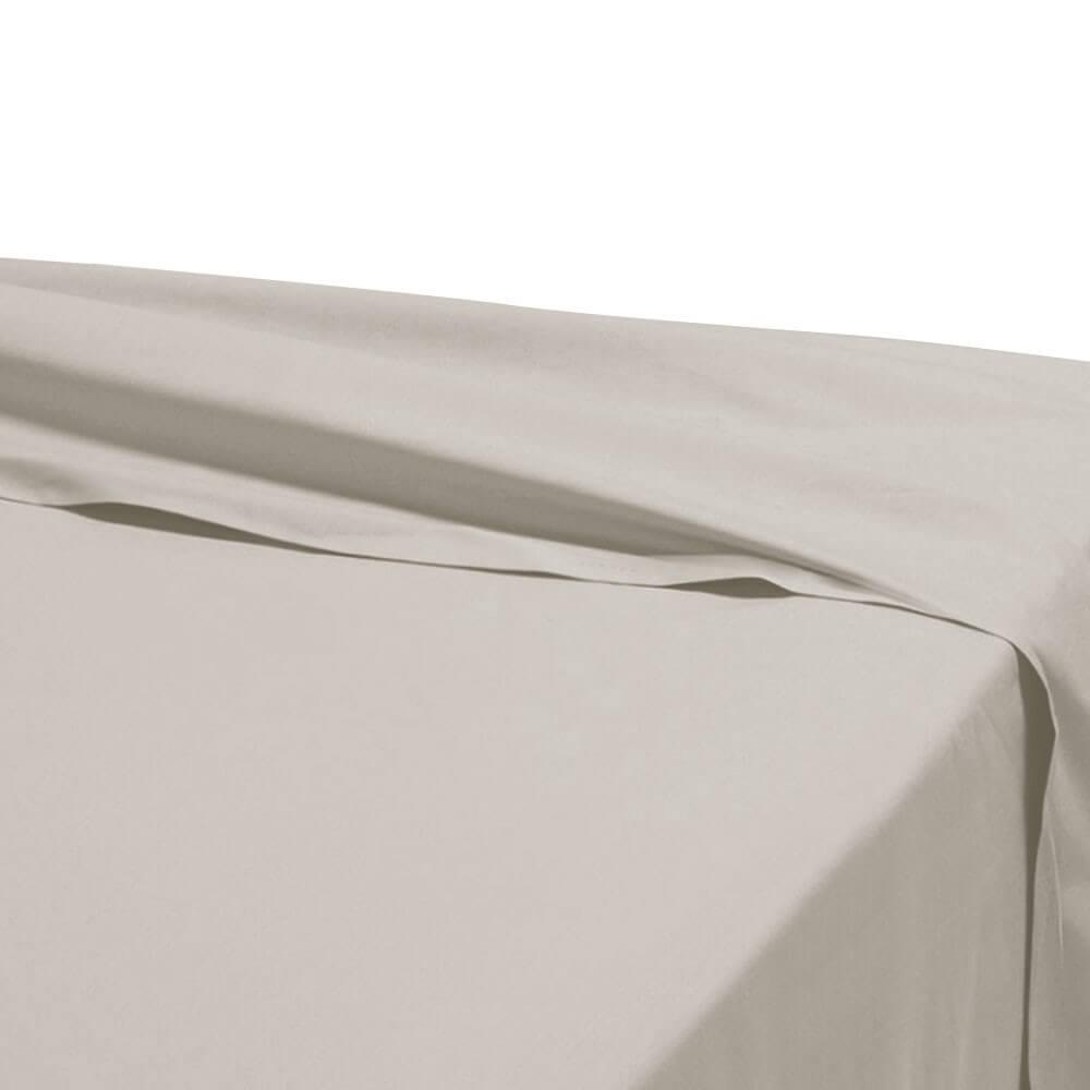 Drap plat - 240 x 310 cm - 100% coton - 57 fils - France : Couleur:Écru