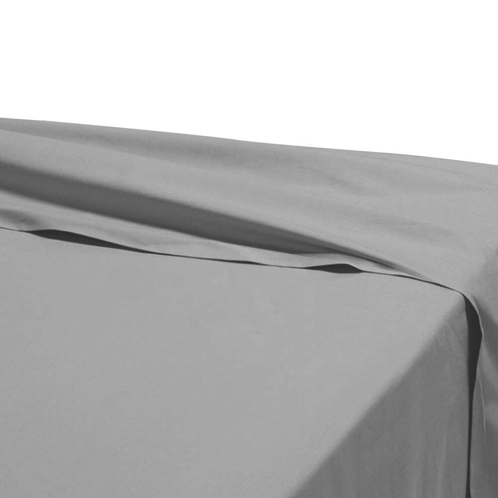 Drap plat - 240 x 310 cm - 100% coton - 57 fils - France : Couleur:Gris