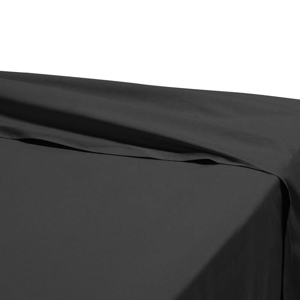 Drap plat - 240 x 310 cm - 100% coton - 57 fils - France : Couleur:Noir
