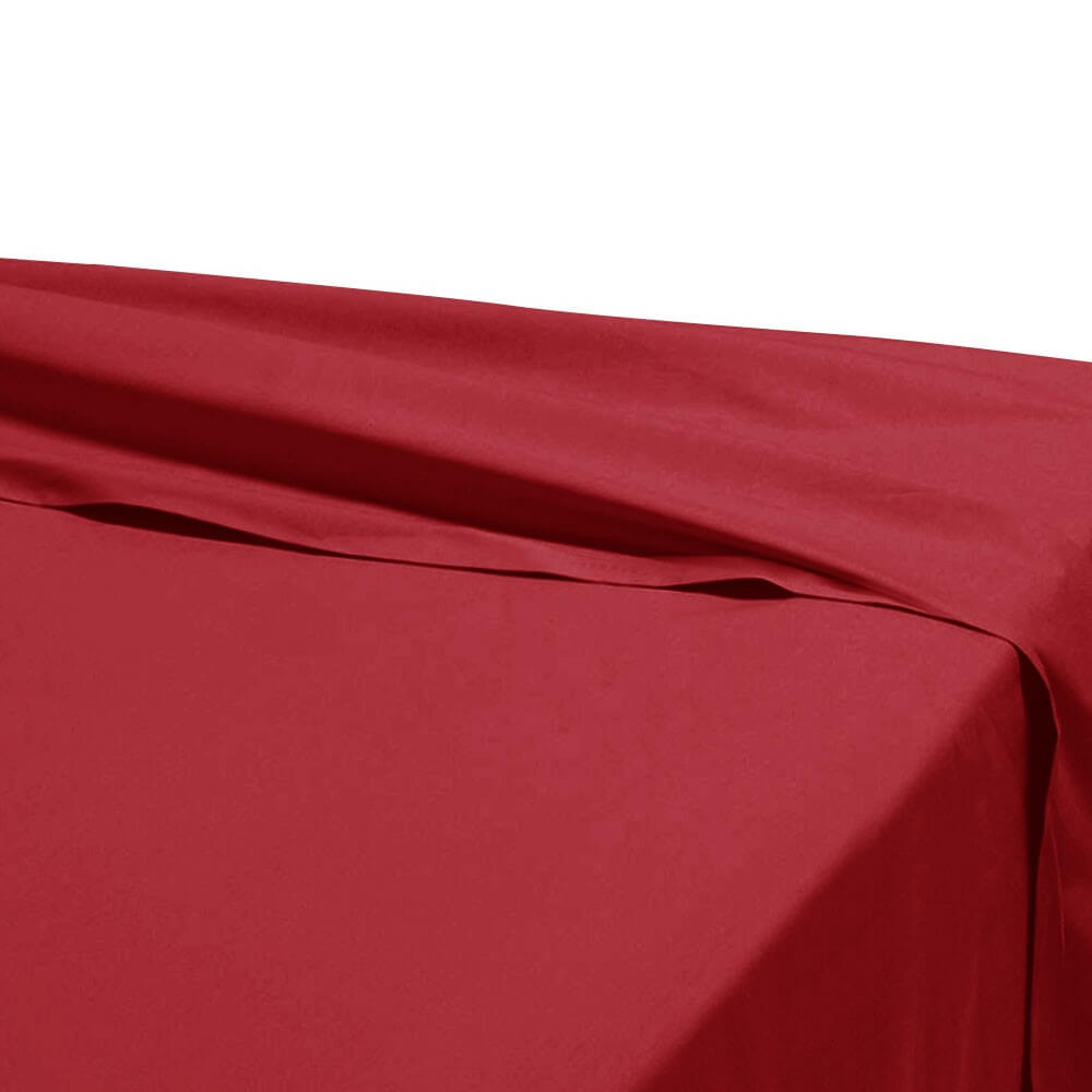 Drap plat - 180 x 290 cm - 100% coton - 57 fils - France : Couleur:Bordeaux