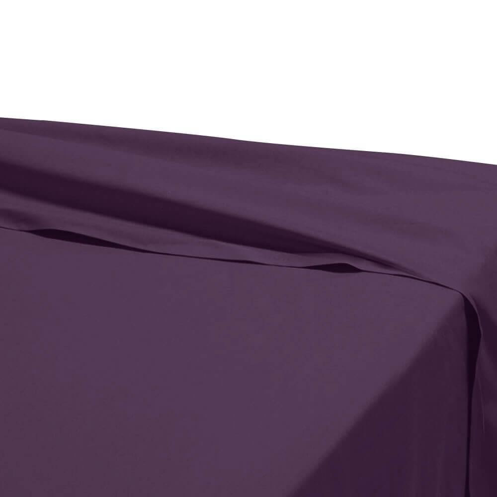 Drap plat - 180 x 290 cm - 100% coton - 57 fils - France : Couleur:Prune