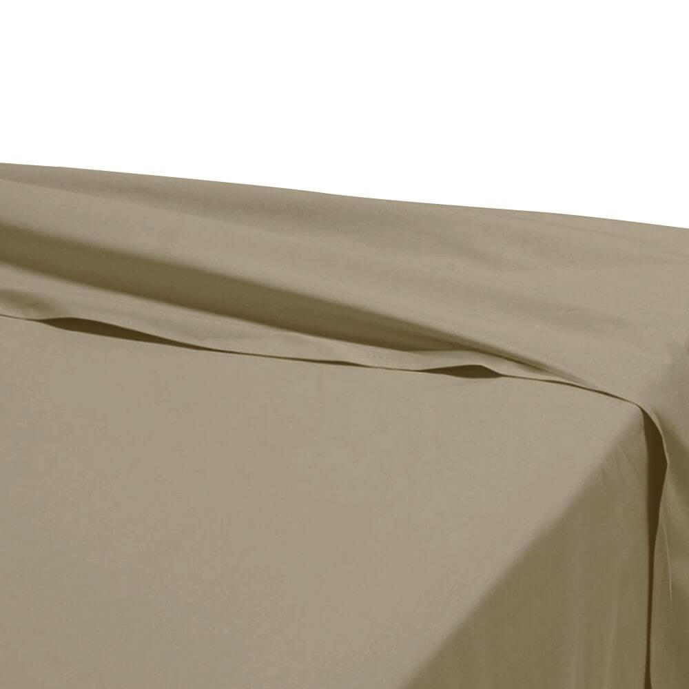 Drap plat - 180 x 290 cm - 100% coton - 57 fils - France : Couleur:Taupe