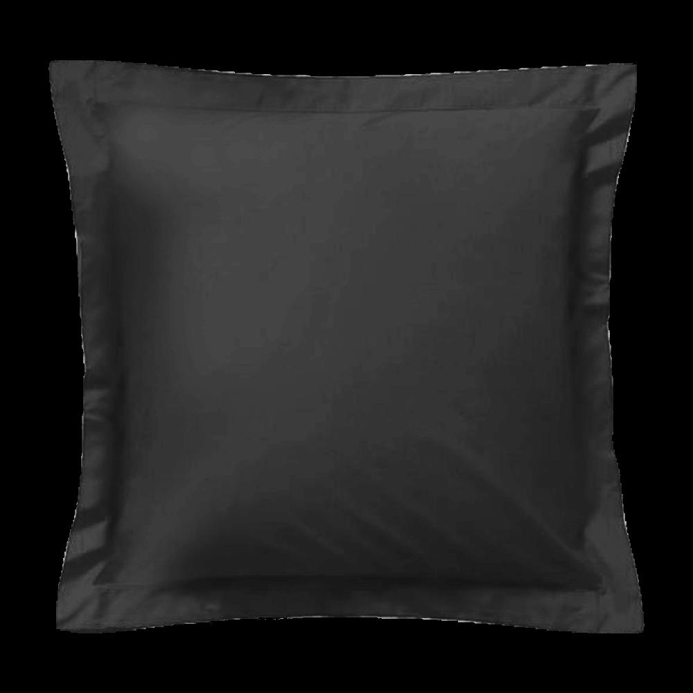 Taie d'oreiller carrée - 65 x 65 cm - 57 fils - 100% coton - France : Couleur:Noir