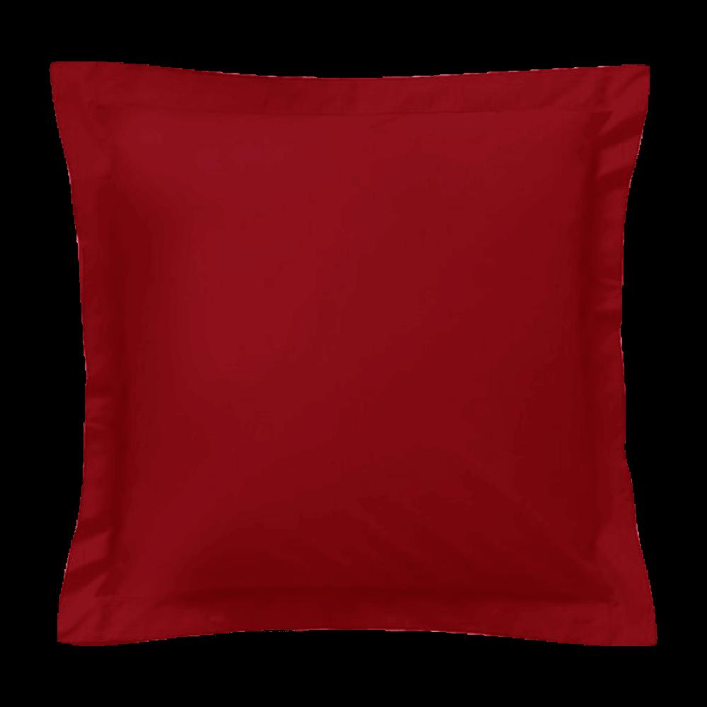 Taie d'oreiller carrée - 65 x 65 cm - 57 fils - 100% coton - France : Couleur:Bordeaux