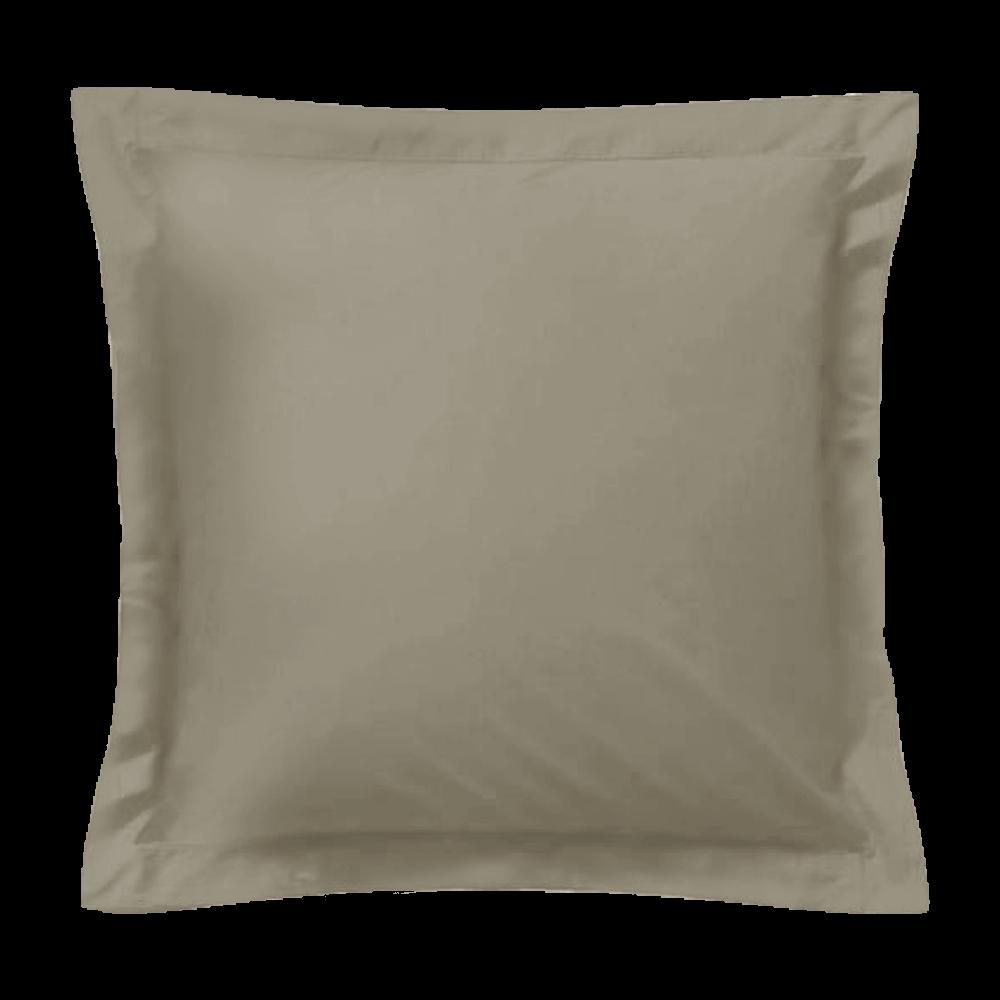 Taie d'oreiller carrée - 65 x 65 cm - 57 fils - 100% coton - France : Couleur:Taupe