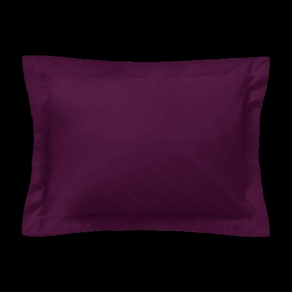 Taie d'oreiller rectangle - 50 x 75 cm - 100% coton - France : Couleur:Prune