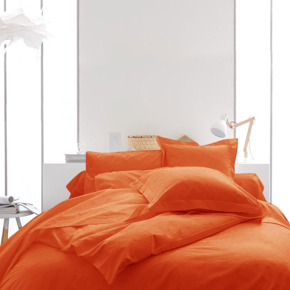 Housse de couette unie - 240 x 260 cm - 100% coton - Différents coloris : Couleur:Mandarine