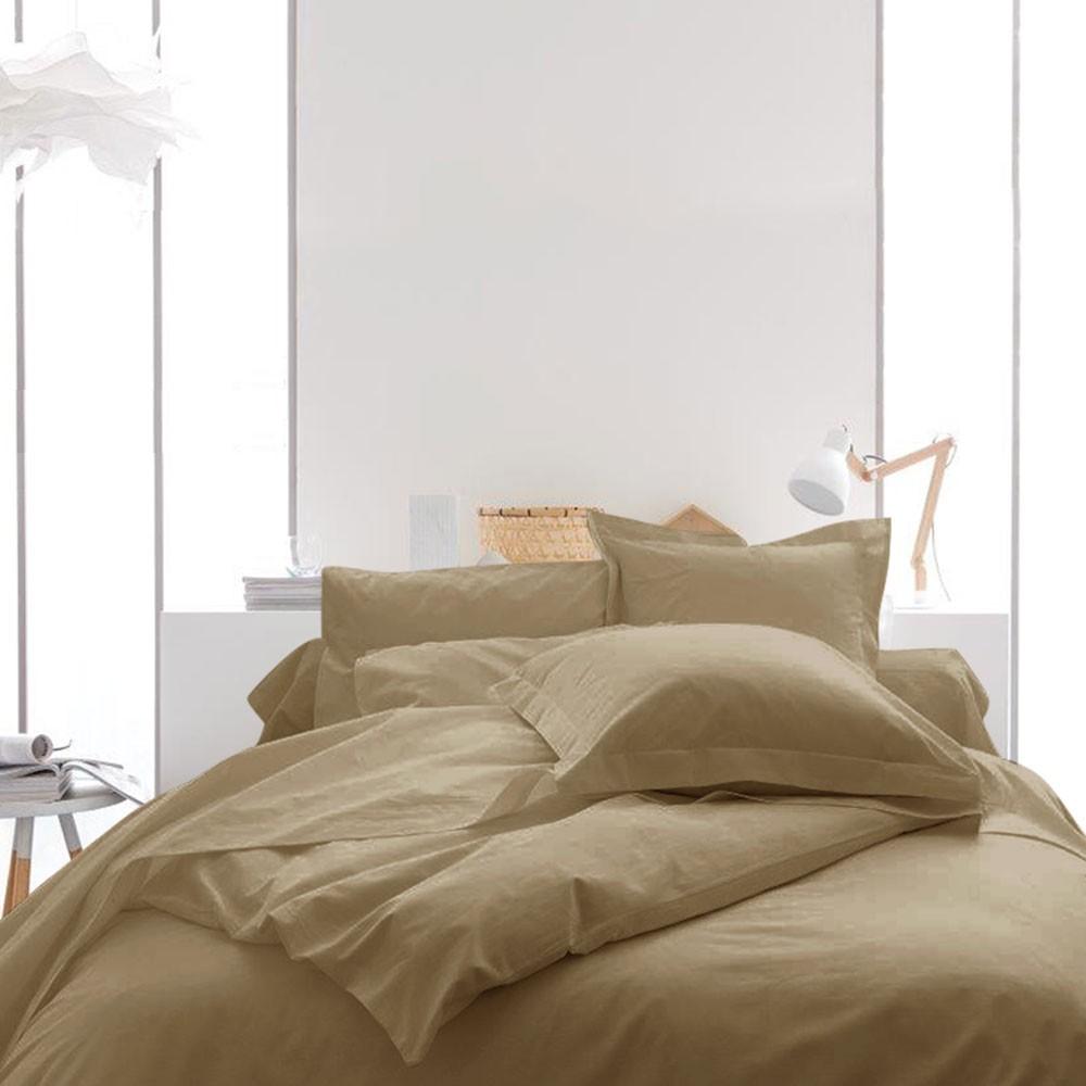 Housse de couette unie - 240 x 260 cm - 100% coton - Différents coloris : Couleur:Mastic