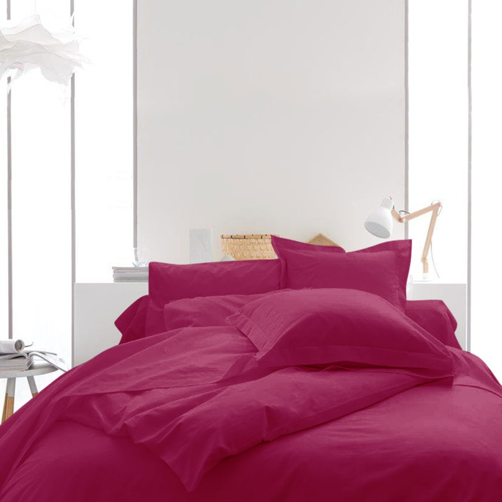 Housse de couette unie - 240 x 260 cm - 100% coton - Différents coloris : Couleur:Jus de myrtille