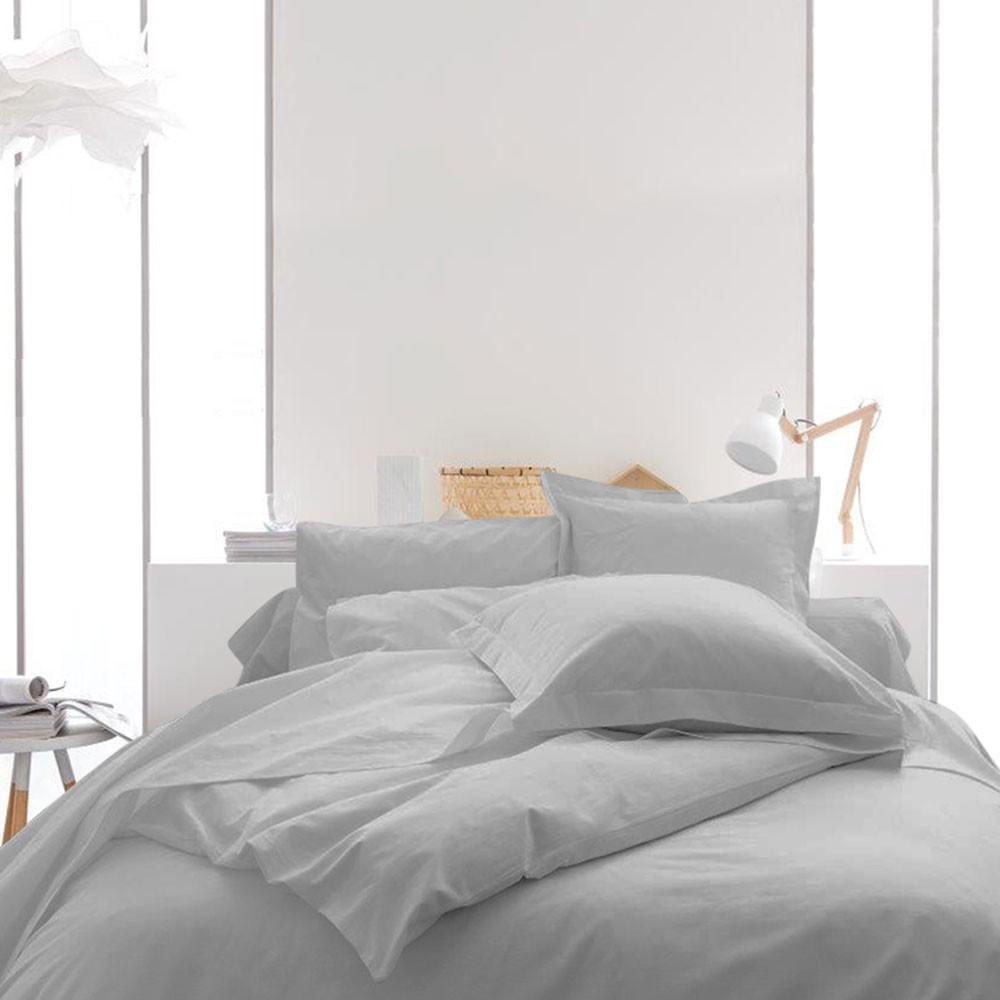 Housse de couette unie - 240 x 260 cm - 100% coton - Différents coloris : Couleur:Zinc