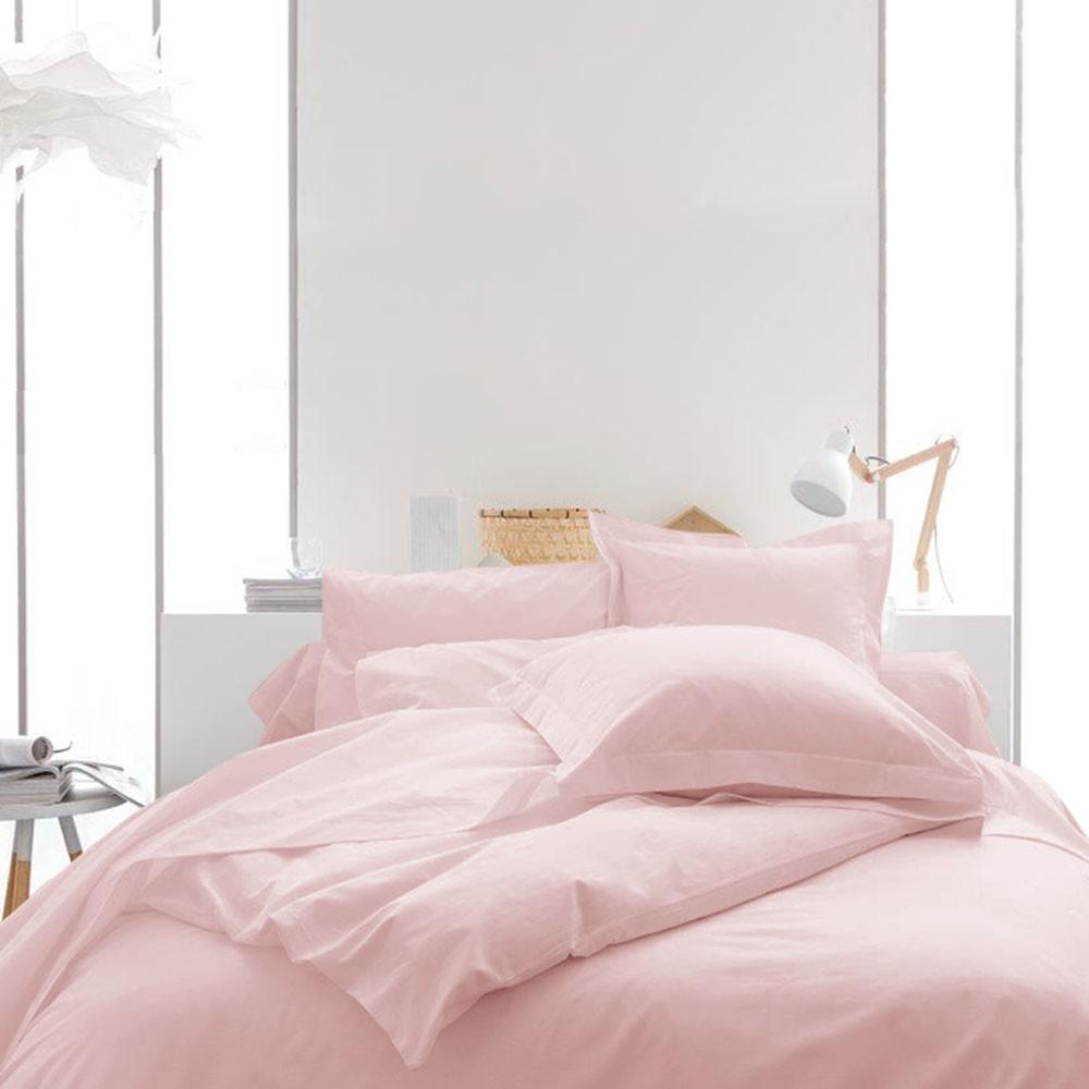 Housse de couette unie - 240 x 260 cm - 100% coton - Différents coloris : Couleur:Poudre Lilas