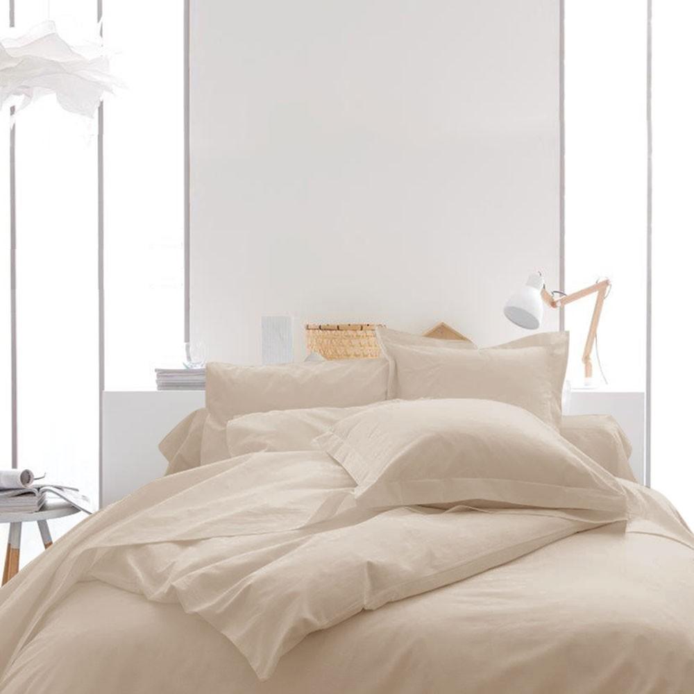 Housse de couette unie - 240 x 260 cm - 100% coton - Différents coloris : Couleur:Ivoire