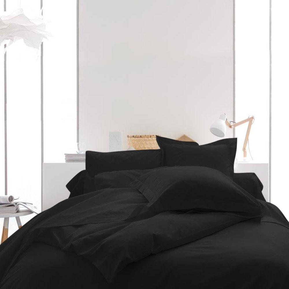 Housse de couette unie - 240 x 260 cm - 100% coton - Différents coloris : Couleur:Réglisse