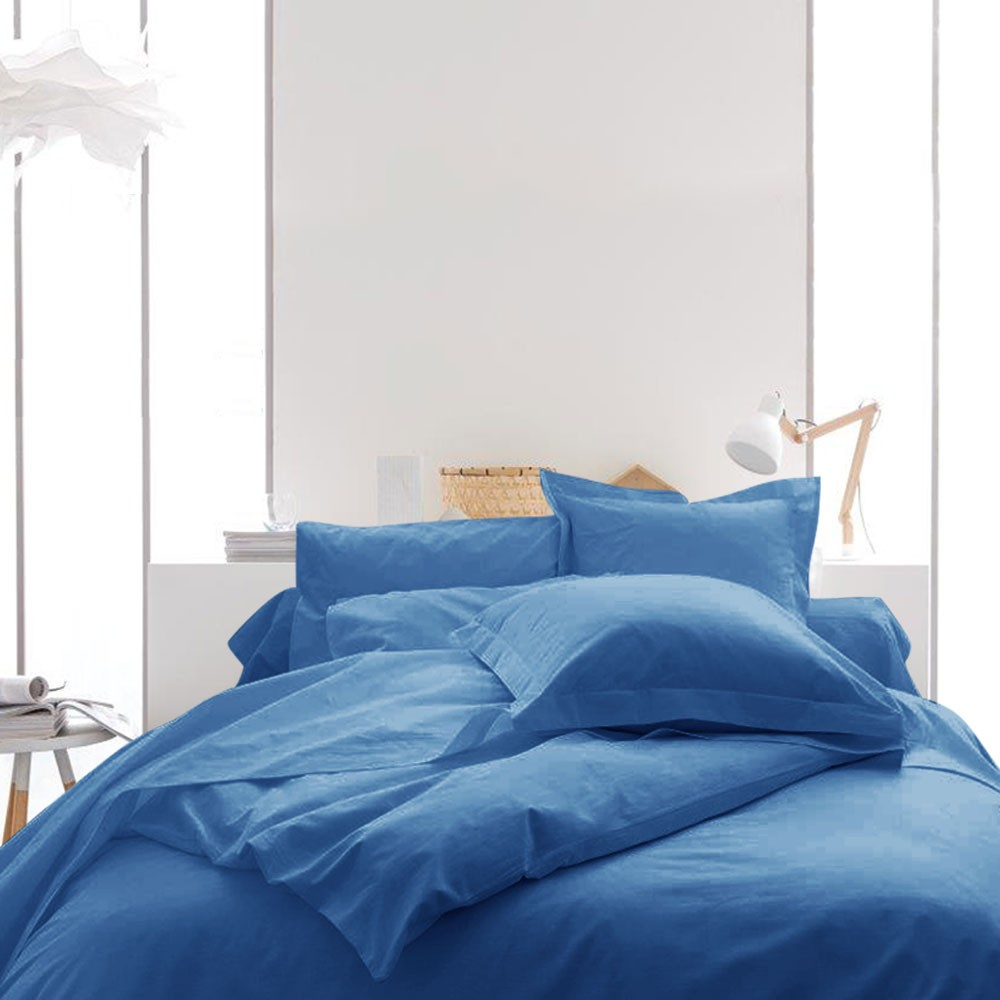Housse de couette unie - 220 x 240 cm - 100% coton - Différents coloris : Couleur:Indigo