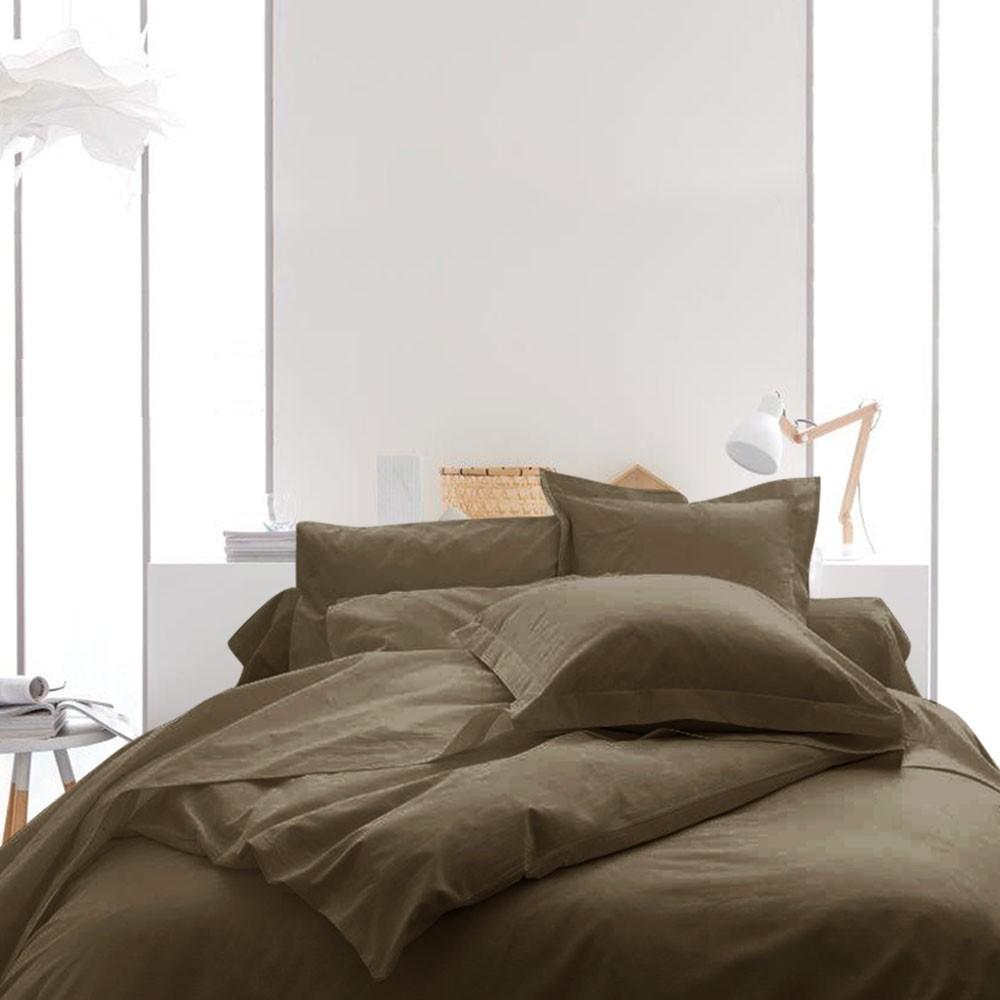 Housse de couette unie - 220 x 240 cm - 100% coton - Différents coloris : Couleur:Bronze