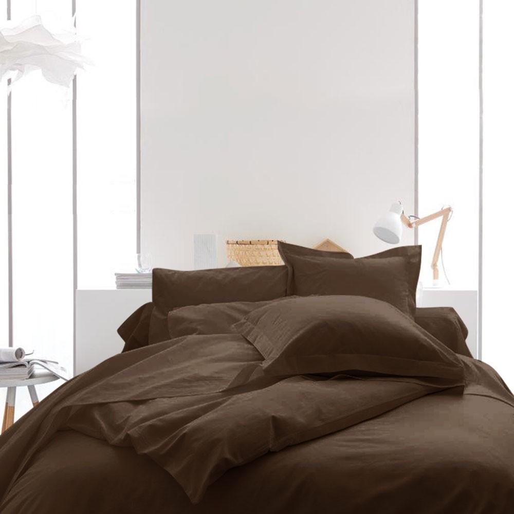 Housse de couette unie - 220 x 240 cm - 100% coton - Différents coloris : Couleur:Cacao
