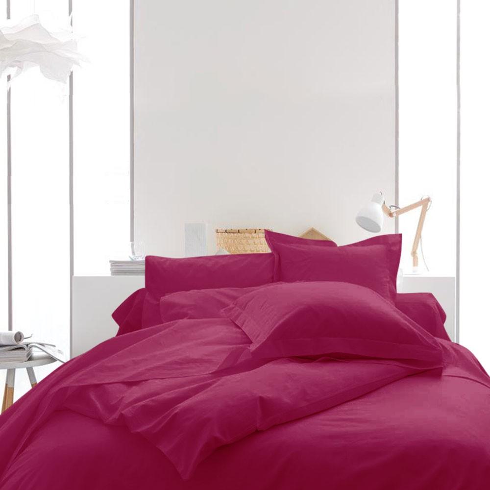 Housse de couette unie - 220 x 240 cm - 100% coton - Différents coloris : Couleur:Jus de myrtille